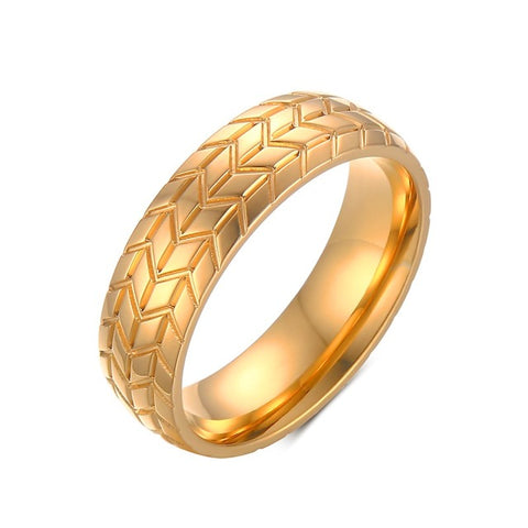 gold/silver color tire shape stainless steel ring for men
