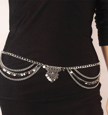 gypsy metal bead chain tassel sexy body necklace