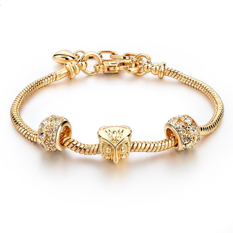 luxury gold & crystal owl charm bracelet for women
