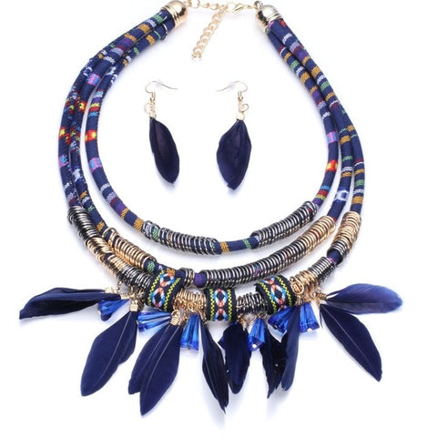bohemian multilayer feather statement jewelry set for women