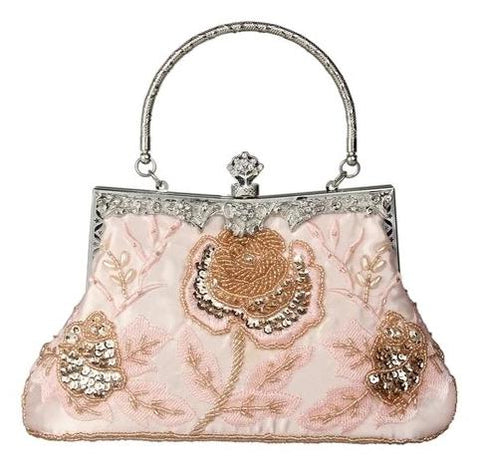 vintage floral pattern pu leather evening hand bag for women