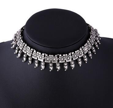 ethnic metal choker statement necklace for women