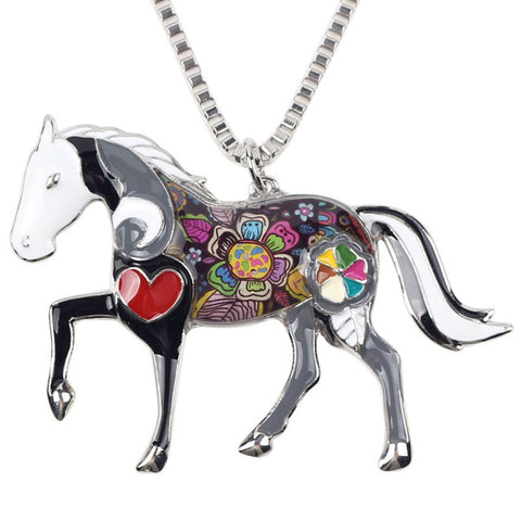 colorful horse pendant choker chain necklace for women