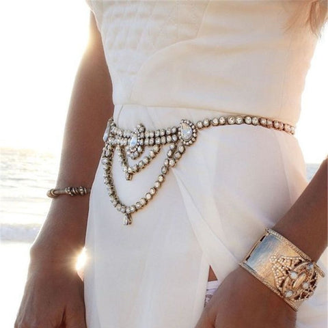 luxury style full crystal belt chain body jewelry for women