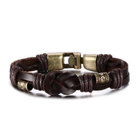 cool bronze buckle leather bracelet for men