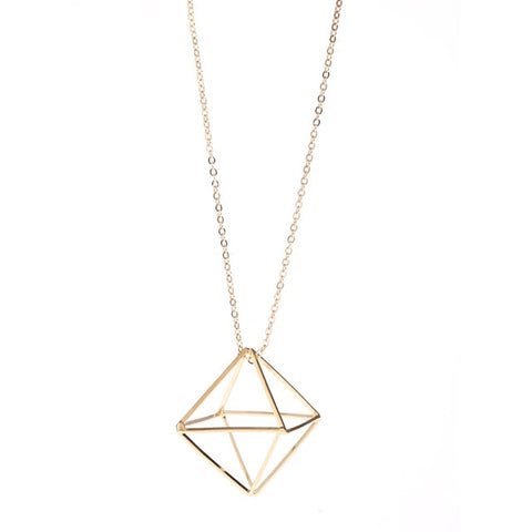 geometry three dimensional hollow triangle long chain necklace
