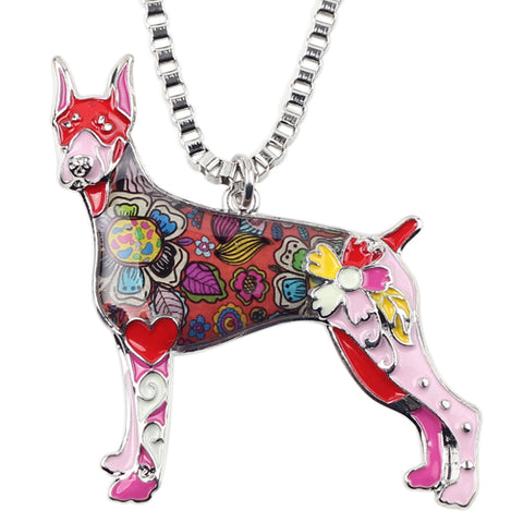 doberman dog pendant choker necklace for women