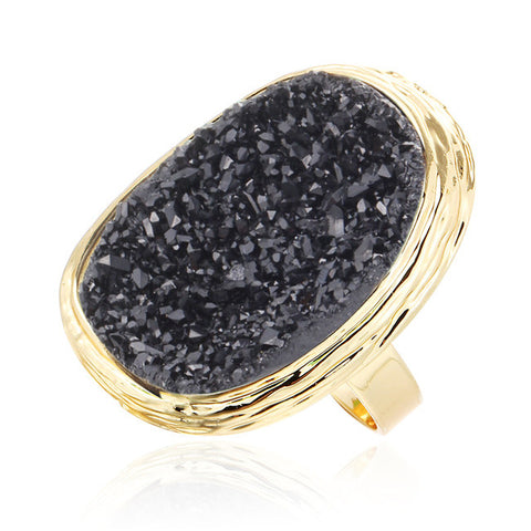 big gold color natural stone ring for women
