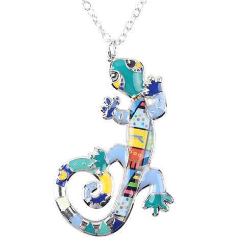 gecko lizard pendant chain necklace for women