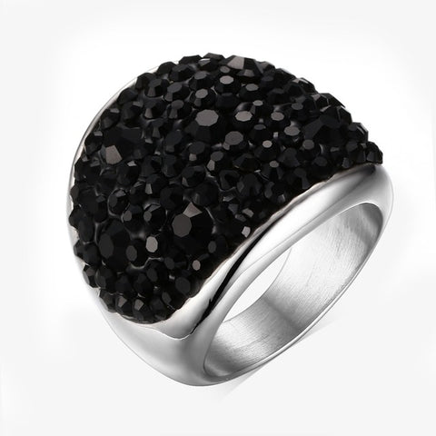 luxury stainless steel crystal ring for women