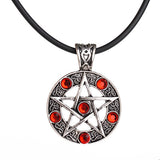 gothic pentagram pentacle star crystal pendant necklace