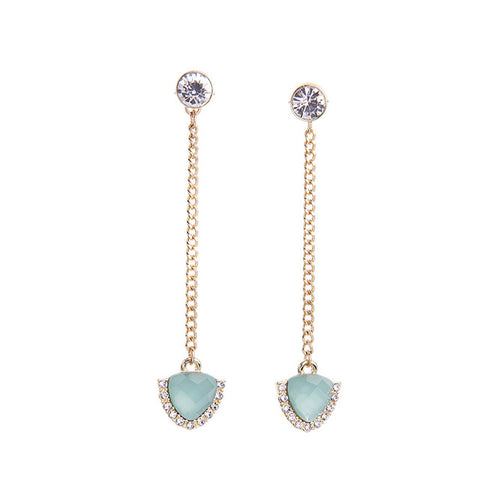 elegant long chain synthetic stone dangle earrings