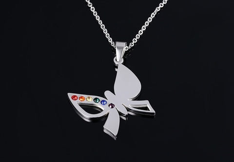 stainless steel hollow butterfly cubic zircon pendent necklace