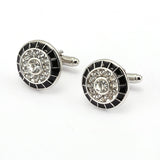 luxury round crystal cufflinks for men