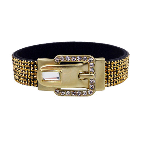 leather rhinestone pave setting crystal bracelet for women