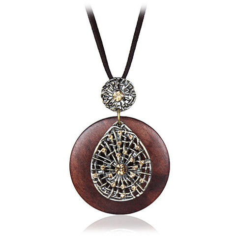 vintage crystal wooden necklace & pendant for women