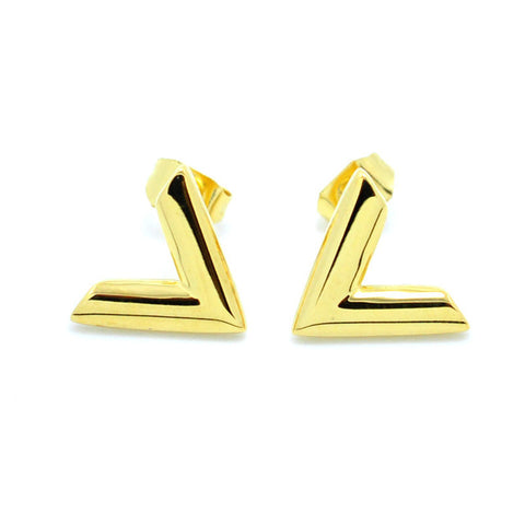Simple Design V Letter Stainless Steel  Earrings For Women