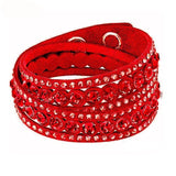 multilayer crystal bracelet double twist charm