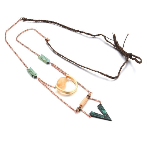 trendy multilayer triangle tassel pendant necklace for women