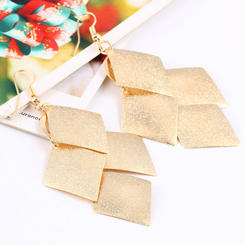 elegant gold color square long tassel drop earrings