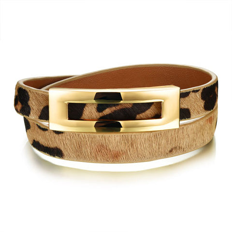vintage leopard double layer leather wrap bracelet for women