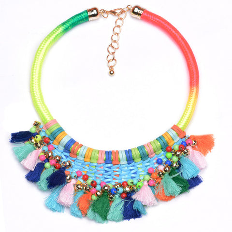 bohemian maxi beads choker tassel necklace for women