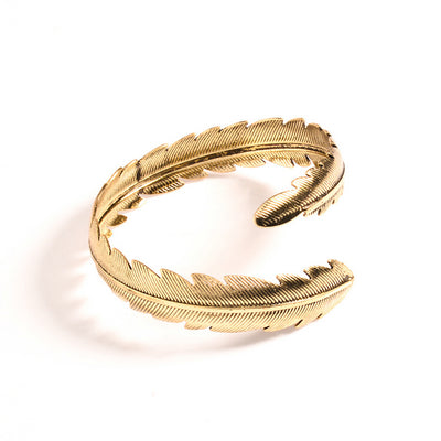 bohemian feather arm cuff bangle bracelet for women