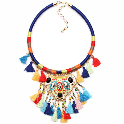 bohemian multicolor statement choker necklace for women