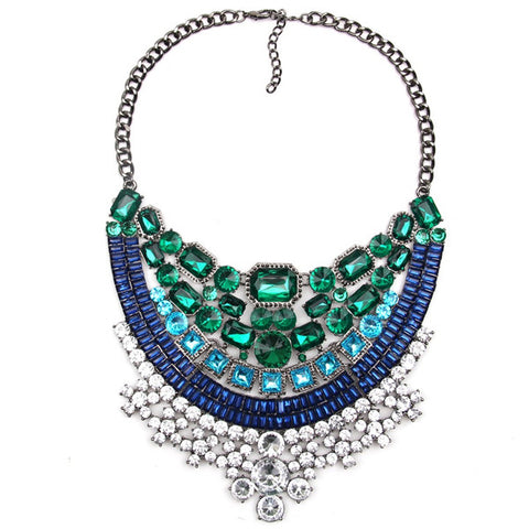luxury crystal rhinestone maxi statement necklace for women