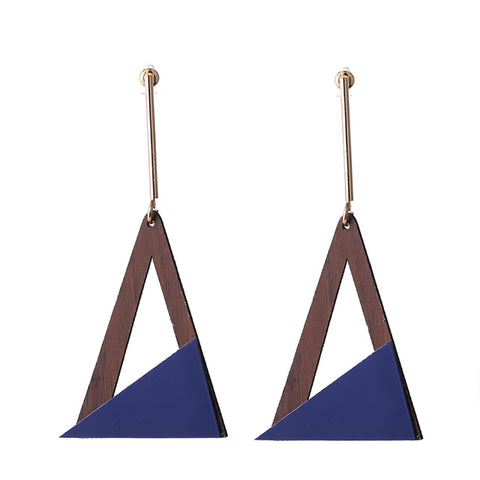 trendy resin & wood triangle drop earrings for women