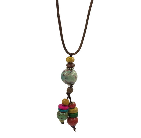 trendy ceramic & wood beads pendant long chain necklace