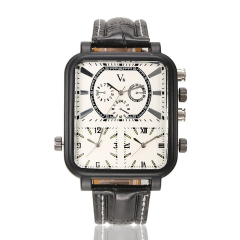 cool multiple time zone big square dial watch for men