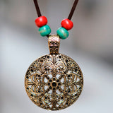 vintage hollow round pendant long rope necklace for women