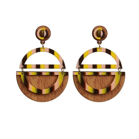 trendy half circle shape wood & resin drop earrings for women