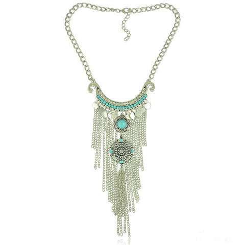 vintage silver color tassel necklace for women