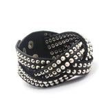multilayer black pu rivet wide cuff leather bracelet