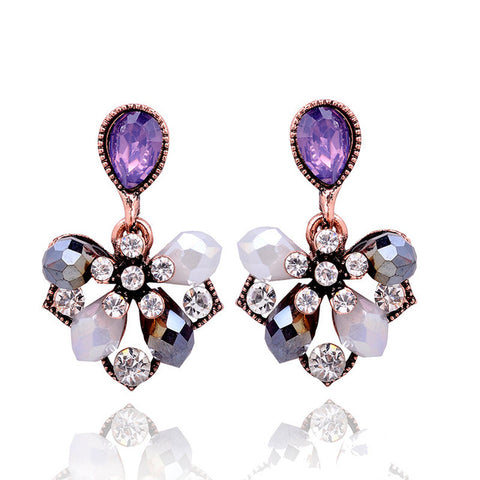 elegant flower petals stud earrings for women