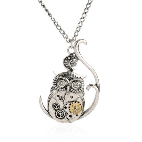 steampunk silver color owl gear pendant necklace