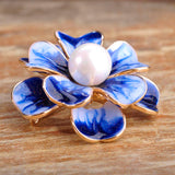 colorful enamel flower with simulated pearl brooch for women