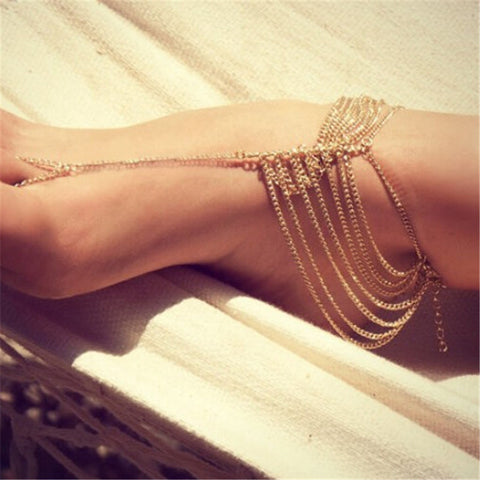 sexy gold color multi tassel toe chain anklet for women