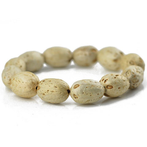 simple elastic buddha wood beads bracelet