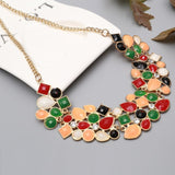 colorful beads choker black color chain necklace for women