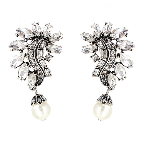 luxury crystal statement stud earrings for women