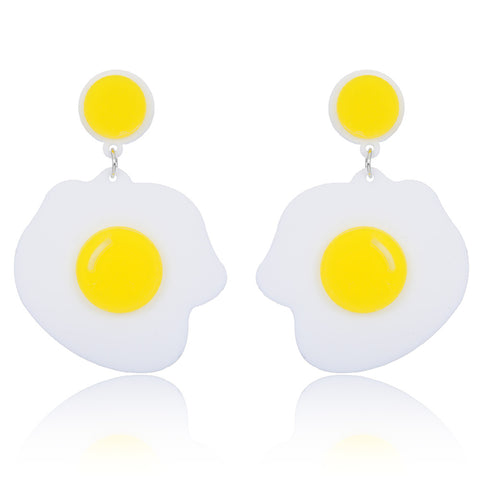 hip hop style long acrylic yolk shaped dangling earrings