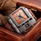 cool big dial square design leather strap quartz wrist watch for men