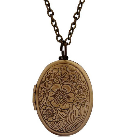 vintage antique bronze floral pattern locket picture necklace