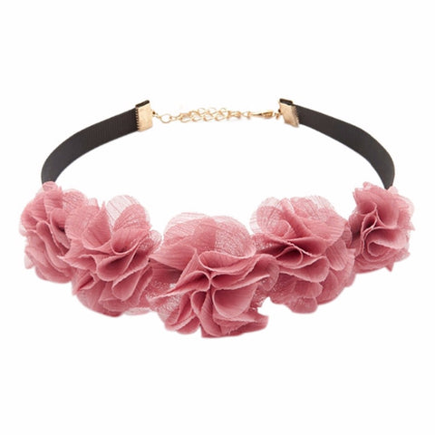pink lace choker flower tassel pendant necklace for women