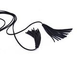 sexy black velvet tassel anklet for women