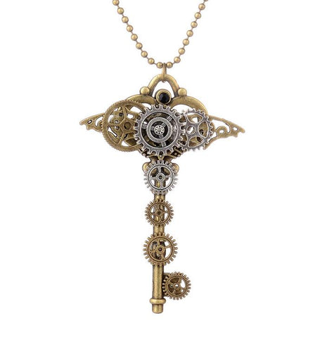steampunk key with gears pendant necklace