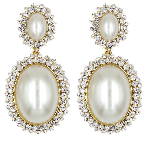 elegant simulated pearl & crystal stud earrings for women